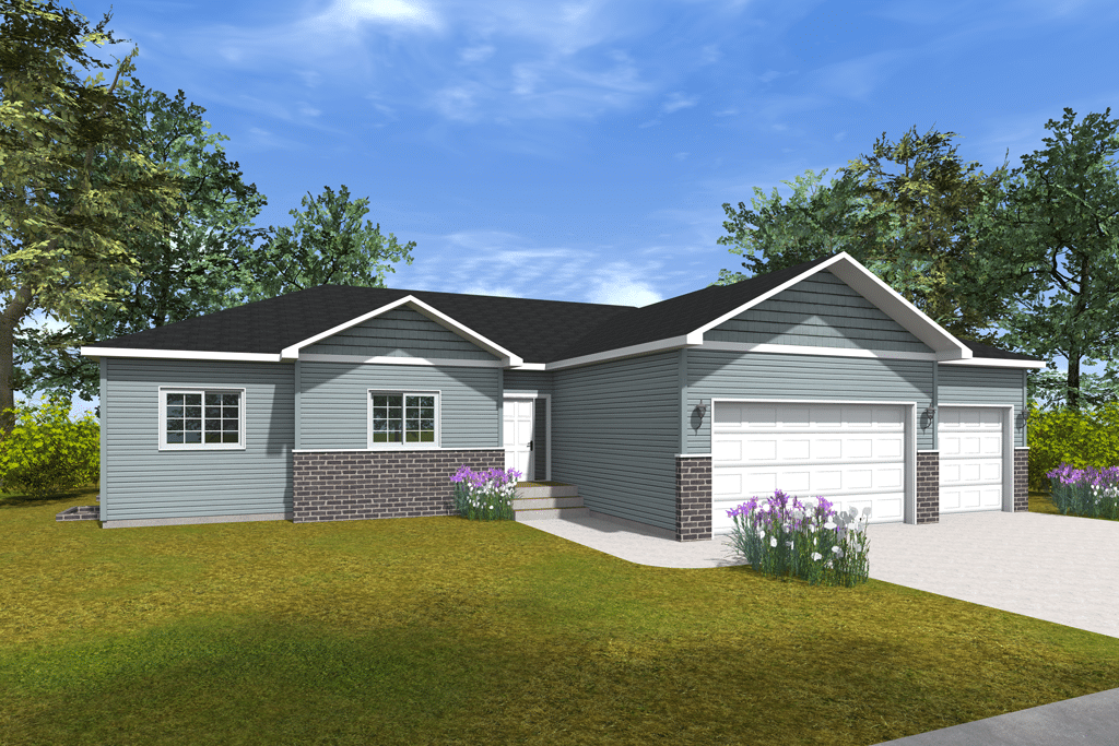 Ranch-Model-Home-2020-FInal-Rendering- Blue house with two garage