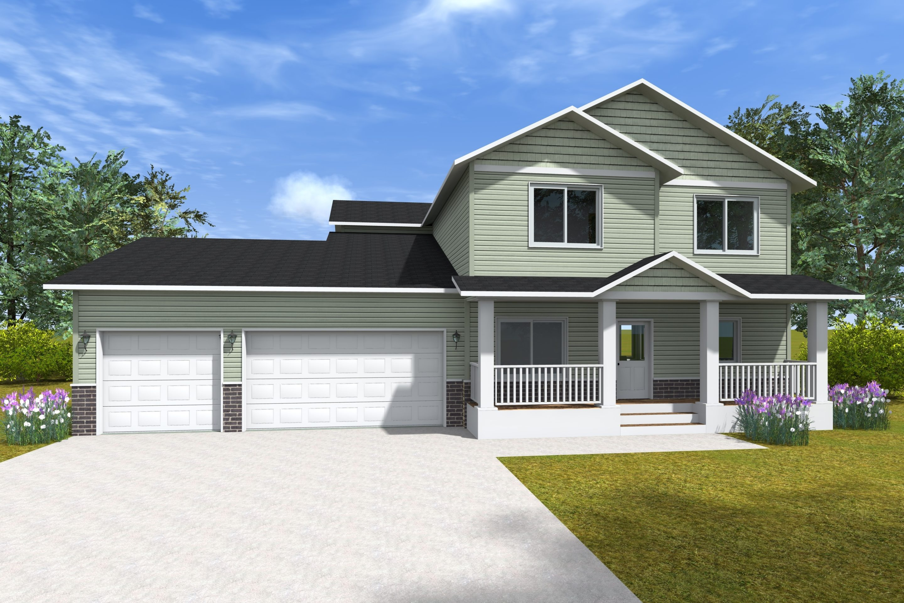 Wyndom drawing - green house with two garage